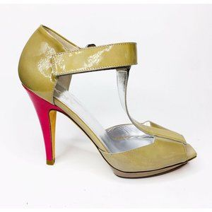 DKNY Size 9 Olive Green Patent Leather Heels